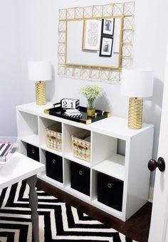 Black Gold Bedroom Home Office Tour Home Office Space, Home Office Design, Home Office Decor, Home Decor Bedroom, Office Ideas, Diy Bedroom, Bedroom Ideas, Office Furniture, Office Setup