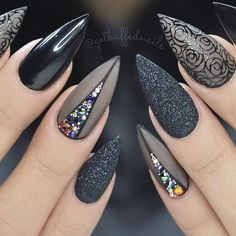 Cute Stiletto Nails With Matte Accents. If you are a passionate lover of a matte finish, have a look at these matte and cute stiletto nails. 1542658375 Best Black Stiletto Nails Designs for Your Halloween Black Nails black style # Black Nail Designs, Acrylic Nail Designs, Nail Art Designs, Nails Design, Pedicure Designs, Acrylic Nails, Best Nail Designs, Easy Nails, Simple Nails