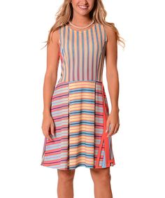 Coral & Blue Stripe Fit & Flare Dress