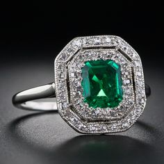Antique Emerald and Diamond Ring | From a unique collection of vintage cocktail rings at http://www.1stdibs.com/jewelry/rings/cocktail-rings/