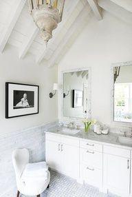 all white, coastal chic bathroom