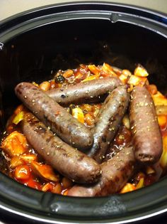 Slow Cooker Venison Sausage Casserole from Baking Queen 74.  Venison Sausages are a great way to try venison and not too expensive, slowly cooked with Borlotti beans, mushrooms and herbs, it will make a rich and delicious  meal.