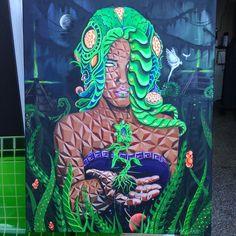 """The Dreaming Tree"" 24x30 inch  Acrylic on canvas  #visionaryart #nature #ancientmaya #dmt #thirdeye"
