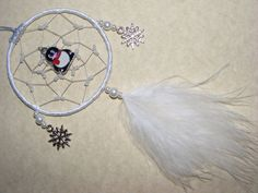 Cute Penguin MINI Dreamcatcher White Snowflake Christmas Present Gift Car Mirror (PB) by FirwelCrafts on Etsy