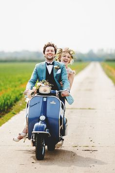 Such a fabulous shot by Ross Harvey Photography - you can't beat a vintage vespa! See more of this beautiful wedding here http://lovemydress.net/blog/2014/06/claire-pettibone-and-flowers-in-her-hair-a-spectacular-outdoor-spring-wedding-celebration.html