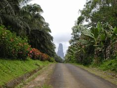 Known as Pico Cao Grande, which is in the form of a needle from towering volcanic plug in the south of Sao Tome of the OBO Island of the national park and a height of over 300 meters above the surrounding terrain, and is often covered by clouds. Wake Island, Island Nations, Beautiful Landscapes, State Parks, Cool Pictures, National Parks, Places To Visit, Country Roads, World