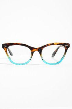 'Emma' Gradient Frame Cat Eye Clear Glasses - Tortoise/Teal - 1029-5