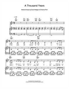 Christina Perri: A Thousand Years sheet music. Pro engraving for piano.