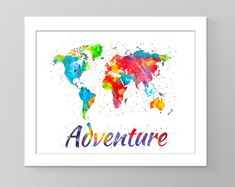 Wanderlust world map watercolor poster living room decor bedroom printable art print modern wall art wall decor wall pictures art poster by GecleeArtStudio on Etsy World Map Poster, Modern Wall Art, Geometric Art, Picture Wall, Printable Art, Wall Art Decor, Watercolor Art, Cool Art, Wall Pictures
