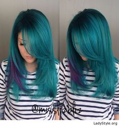 Green blue and purple hair coloring - LadyStyle