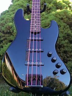 Warmoth Bass, blue with reflection of trees. RESEARCH #DdO:) - https://www.pinterest.com/DianaDeeOsborne/basses-of-life/ - Largest manufacturer of fine necks & bodies in U.S.A. for over 30 years. Only select woods and proven construction methods are used - no cheap parts: Guarantee. Company has supplied necks and/or guitar bodies to Yamaha 900 Series Pacifica, Valley Arts Custom Pro Series, Pensa-Suhr, Sadowsky Guitars and many other quality conscious builders, luthiers.