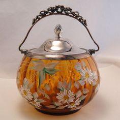 Biscuit Barrel -- Stunning Antique Amber Enameled Glass Cookie Biscuit Jar Barrel