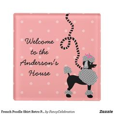 French Poodle Skirt Retro Pink Black 50s Personalized Drink Coasters | Midcentury Modern Christmas Gift Ideas Under $20 for Fans of the Fab 1950s