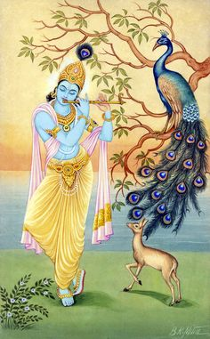 Arte Krishna, Krishna Radha, Durga, Radha Krishna Paintings, Krishna Flute, Pichwai Paintings, Indian Art Paintings, Arte Chakra, Krishna Drawing