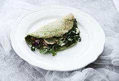 Green Basil Wraps with arugula salad
