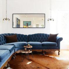 Dorian Mid Century Navy Velvet Tufted Sofa
