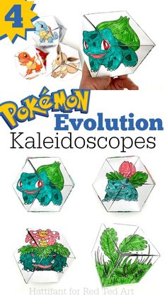 Pokemon Evolution DIY - Paper Toys - Kaleidocycle. Watch your Pokemon's evolve with this cool free PAPER TOY. A great fidget toy for kids and perfect for Pokemon fans. Four designs available - choose from Charmander, Eevee, Squirtle and Bulbasaur. Love love love these paper toys.