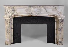 Large antique Regence style fireplace made of Seravezza marble, finely carved (ref.2987) - Available at Galerie Marc Maison #regence #style #french #antique #paris #fireplace #marble