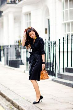 A Classic Black Shirtdress and Pointy-Toe Pumps, on Peony Lim