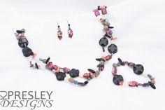 Kynite & Purple Sea Sediment Jasper Jewelry Set by KJPresley Designs  http://www.kjpresleydesigns.com/ #jewelry #necklace #bracelet #earrings @KJPresleyDesgns