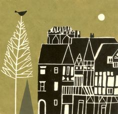 Medieval Town Art Print - Pine Tree & Bird, European Buildings, Original Lino Block print, Limited Edition, Olive Green