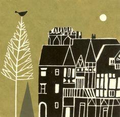 Medieval Town Art Print - Pine Tree & Bird, European Buildings, Original Lino Block print, Limited Edition, Olive Green