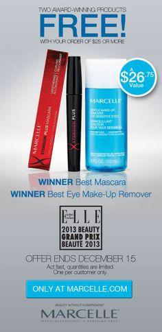 Until December 15th, receive 2 TOP award-winning products FREE w/ your order of $25 or more when you shop online at Marcelle.com | Recevez deux produits gagnants GRATUITEMENT avec tout achat de 25$ ou plus sur Marcelle.com seulement.