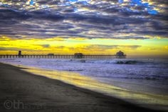 Sunrise at Huntington Beach, California.