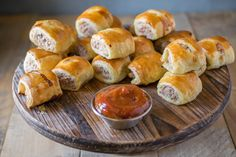 Mini pork, apple & sage sausage rolls with curry ketchup