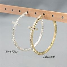 "Goldtone Clear Crystal Studded Cross 2"" Hoop Earrings"