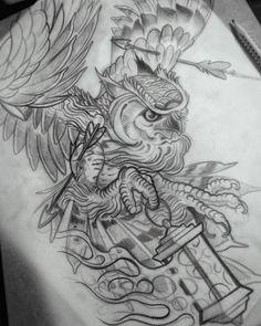 Эскиз тату с проткнутой стрелами совой, держащей в лапе светильник