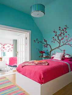 Decorating+very+Small+Bedrooms+for+Girls+in+blue | ... Room Decorating Design Ideas For Girls With Sky Blue Wall Combine With