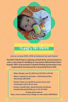 """Only 3 Days Left until our """"Hungry No More"""" Benefit! Please come join us at LaQuinta Inn and Suites for our event to help rebuild Casa Jackson for Malnourished Infants in Guatemala! https://www.eventbrite.com/e/hungry-no-more-tickets-25850092322?aff=ehomesaved"""