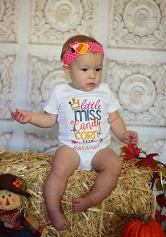 81a3f9788 Little Miss Candy Corn Personalized Shirt or Bodysuit. Halloween Bodysuit.  First Hallween Bodysuit. Candy Corn Halloween Shirt.