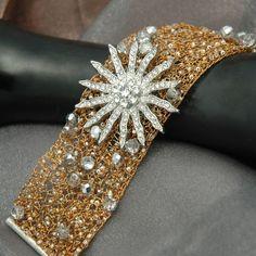 Let the sunshine sparkle. Wire Jewelry, Antique Jewelry, Handmade Jewelry, Vintage Jewellery, Gold Jewelry, Crochet Bracelet, Beaded Bracelets, Wrap Bracelets, Pandora Bracelets