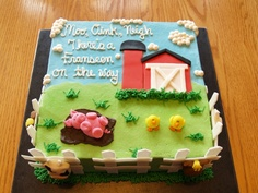 Farm Baby Shower, this cake would be so cute for Jenny's baby shower! Baby Shower Cupcakes For Boy, Cupcakes For Boys, Baby Shower Themes, Baby Boy Shower, Shower Ideas, Barn Cake, Farm Birthday, Birthday Cakes, Birthday Ideas