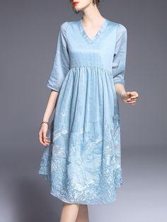 #AdoreWe StyleWe Midi Dresses - MOSICOCO Blue Casual Embroidered Asymmetrical Midi Dress - AdoreWe.com