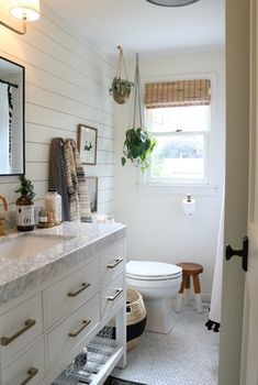 Friday Favorites starts with Target Finds – Nesting With Grace White eclectic DIY bathroom renovation with bathroom accessories and accent table. Bamboo Bathroom, Diy Bathroom, Narrow Bathroom, Upstairs Bathrooms, White Bathroom, Bathroom Interior, Modern Bathroom, Marble Bathrooms, Bathroom Ideas