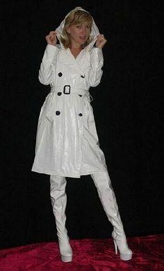 White PVC Trench coat and boots Vinyl Raincoat, Plastic Raincoat, Pvc Raincoat, High Leather Boots, High Heel Boots, High Heels, Shoes Heels, Imper Pvc, Rain Fashion
