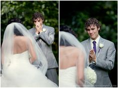 Seeing his bride for the first time... SO sweet :)