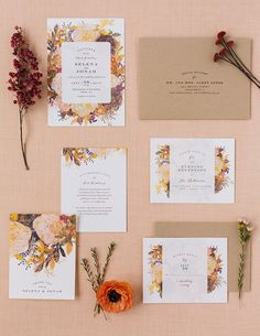 Inspire your fall wedding florals and decor with a fall floral themed wedding invitation suite from Minted.