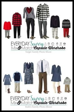 Here are some great ideas for coordinating family photo outfits. Even if you are not getting portraits taken, these are fun outfits for this winter and the holidays. via @everydaysavvy