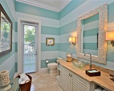Beach, coastal, bathroom. My mom painted our dining room walls similarly