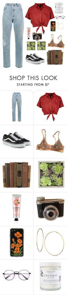"""Neighborhood"" by paradoxfuturum ❤ liked on Polyvore featuring RE/DONE, Vans, La Perla, Gold Eagle, The Body Shop, Zero Gravity, GUESS, Herbivore and vintage"