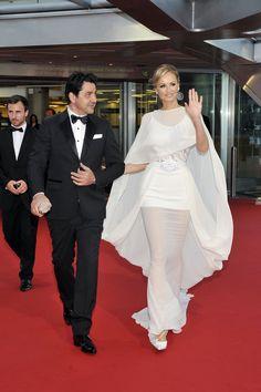 Adriana Karembeu et son compagnon, André Ohanian, lors du Festival de Télévision de Monte-Carlo