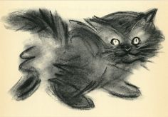"""Vintage Cat Print Kitten by Clare Turlay Newberry C. 1937 Vintage Decor Matted 8x10"""""""