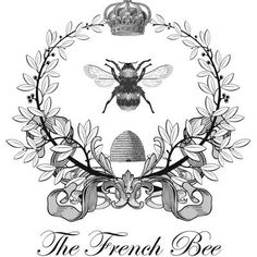 Use as a transfer! The French Bee. Etiqueta postal francesa abeja blanco y negro. Vintage Bee, Vintage Labels, Vintage Prints, Vintage Roses, Vintage Style, French Images, Images Vintage, Vintage Clip Art, French Typography