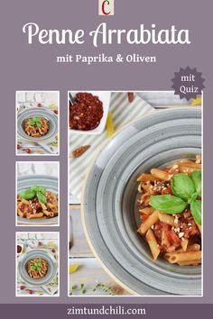 PENNE ARRABIATA MIT PAPRIKA UND OLIVENPasta, scharfe Tomatensauce und knackiges Gemüse. Na, Hunger? Dann mach dir diese Penne Arrabiata mit Paprika und Oliven. Das leckere Abendessen ist einfach und schnell gemacht. Das italienische Rezept ist vegetarisch, aber auch vegan möglich. Verwende dafür Nudeln ohne Ei. #PenneArrabiataRezept #NudelnRezept #einfachesAbendessen #schnelleRezepte #glutenfreieRezepte #PenneArrabiatamitSpeck #vegetarischeRezepte #veganeRezepte #italienischeRezepte Pesto Pasta, Penne Arrabiata, Chili, Ethnic Recipes, Food, Cinnamon, Olives, Red Peppers, Vegan Lunches