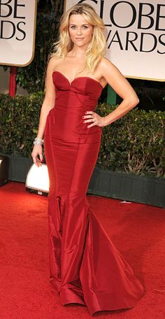 Reese Witherspoon in a red strapless Zac Posen gown at the Golden Globes 2012