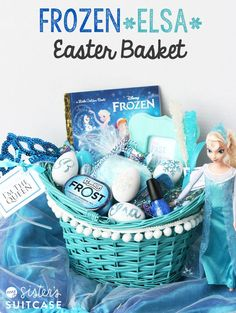 Easy and inexpensive ideas for a FROZEN/Elsa-inspired Easter Basket with free printable tags! Easter basket ideas FROZEN Elsa Easter Basket - My Sister's Suitcase - Packed with Creativity Disney Frozen Party, Frozen Birthday Party, Elsa Frozen, Frozen Theme, Diy Gift Baskets, Raffle Baskets, Fundraiser Baskets, Holiday Baskets, Hoppy Easter